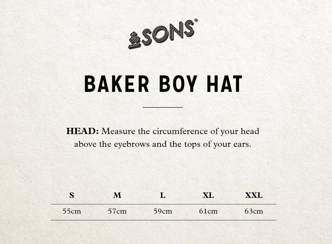&SONS Thompson Baker Boy Hat Size Guide