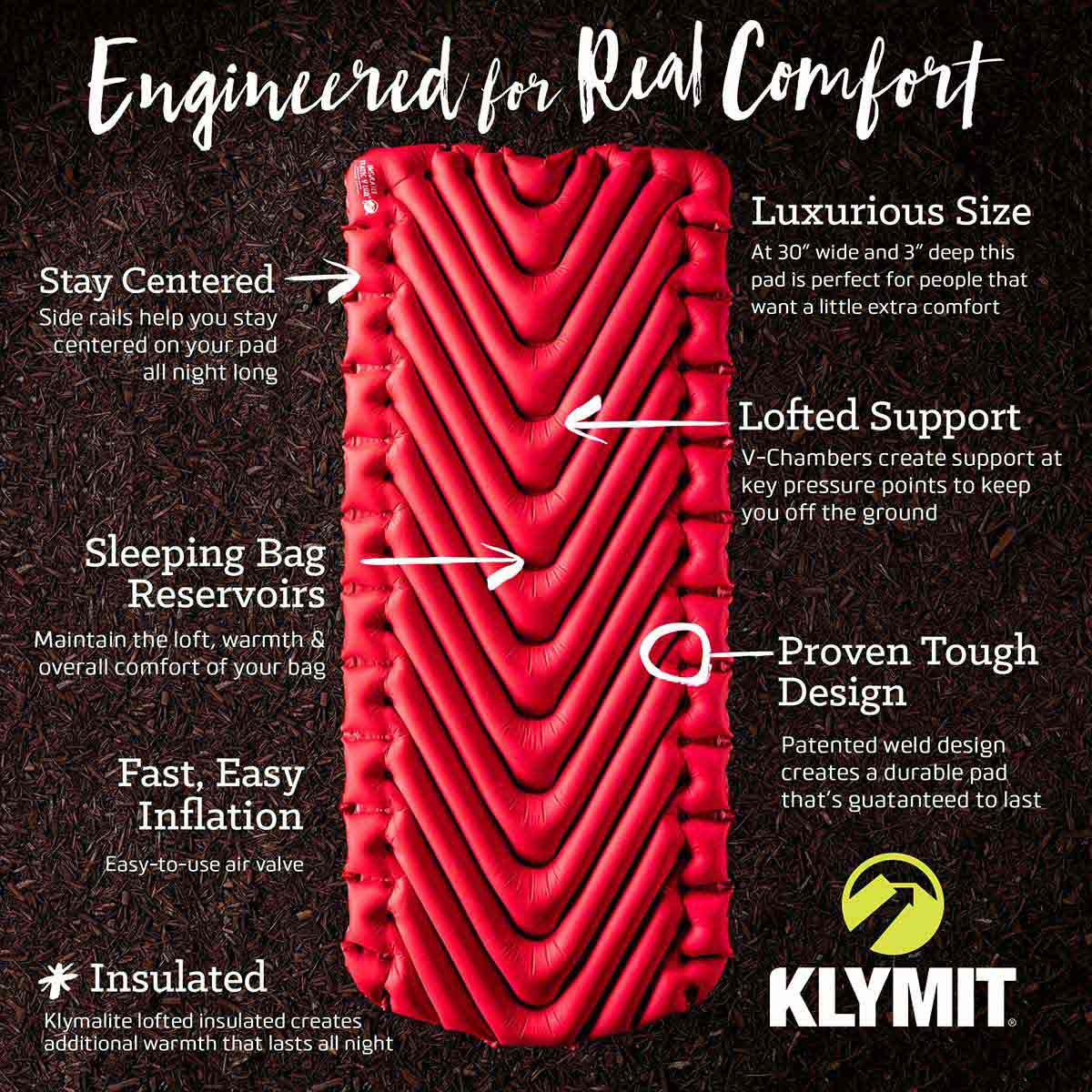 klymit insulated static v luxe red overview