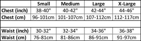 Planks Clothing Ski Wear size guide