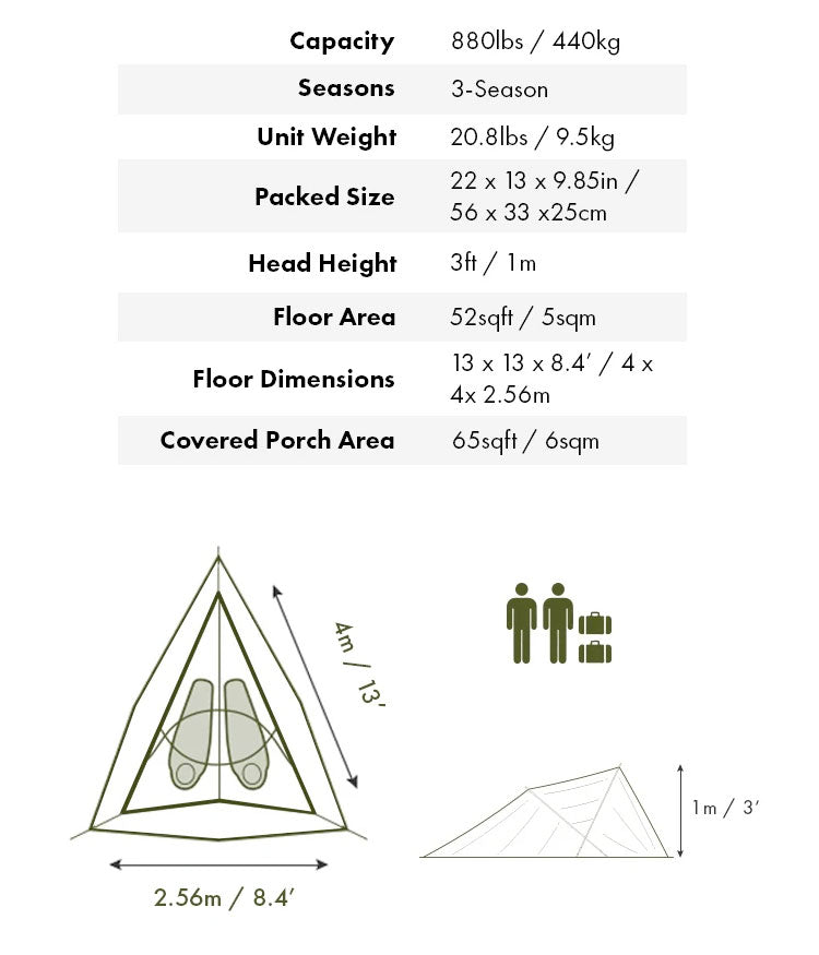 Tentsile Connect dimensions and floor plan