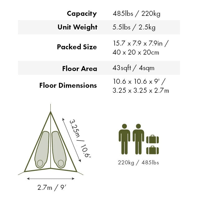 Tentsile T-Mini, dimensions and floor plan