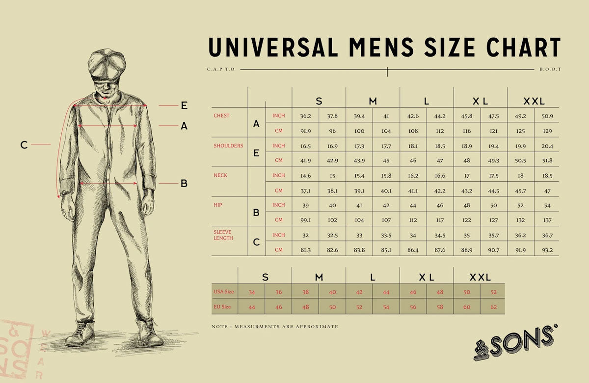 &SONS Universal Mens Size Chart