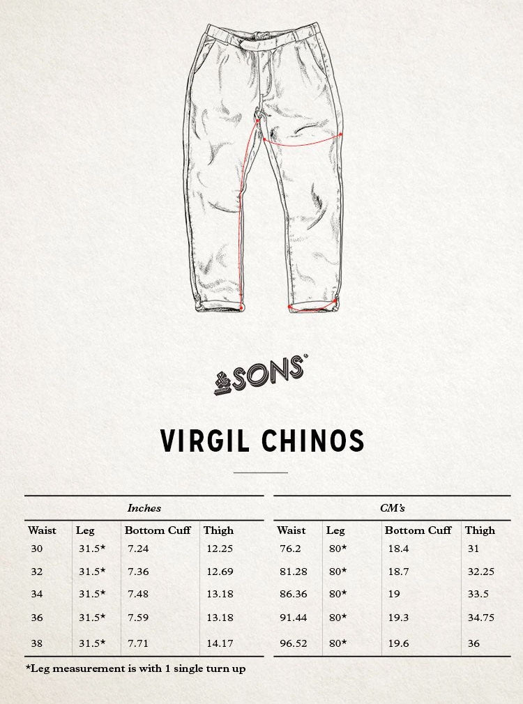 &SONS Virgil Chino size guide