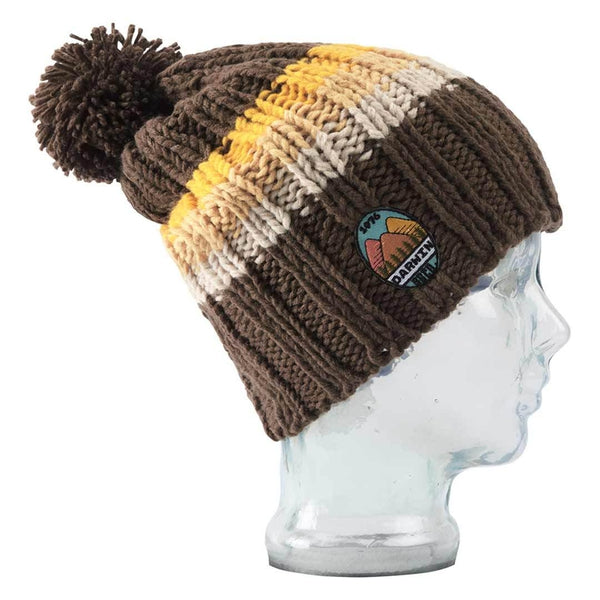 Big Balls Collective, BBCO, Brown Darwin Striped Acrylic Wool chunky knit beanie. A stylish warm winter wooly bobble hat for the slopes, hiking or for venturing out to town in the cold.