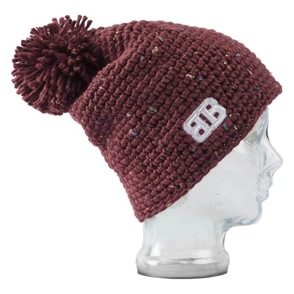 Big Balls Collective, BBCO, Burgundy Tomahawk Unisex Acrylic Wool chunky crochet bobble hat. A stylish warm winter wooly hat for the slopes, hiking or for venturing out to town in the cold.
