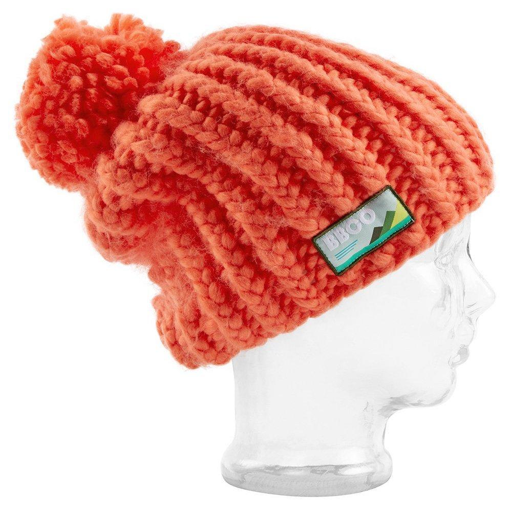 BBCo | Elan Beanie | Vegan Wool | Striped Bobble Hat | Coral