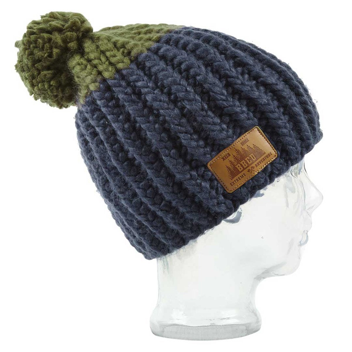 BBCo » Elan Beanie » Warm Acrylic Wool Bobble Hat - Navy/Green
