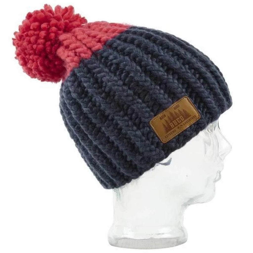 BBCo » Elan Beanie » Warm Acrylic Wool Bobble Hat - Navy/Red