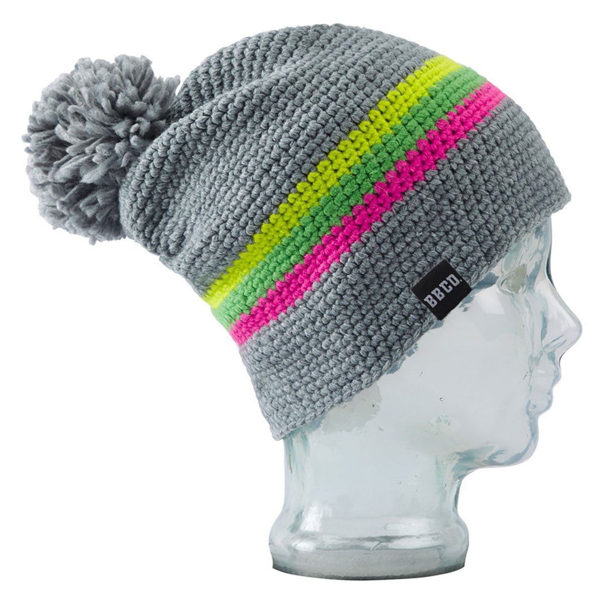 BBCOQNE001, BBCo, Neon Quandary Beanie, Grey/Neon, Chunky Knit Wool | Ski Bobble Hat