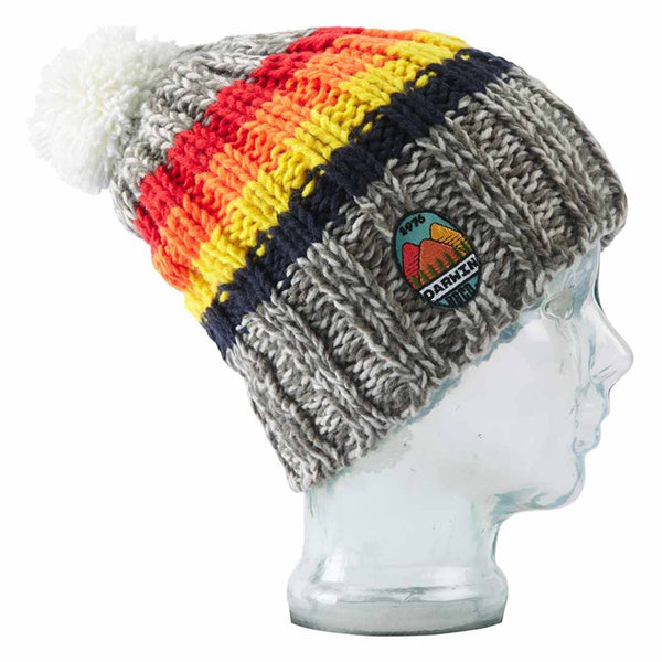 BBCo » Stripe Darwin Beanie » Chunky Knit Wool Bobble Hat - Grey