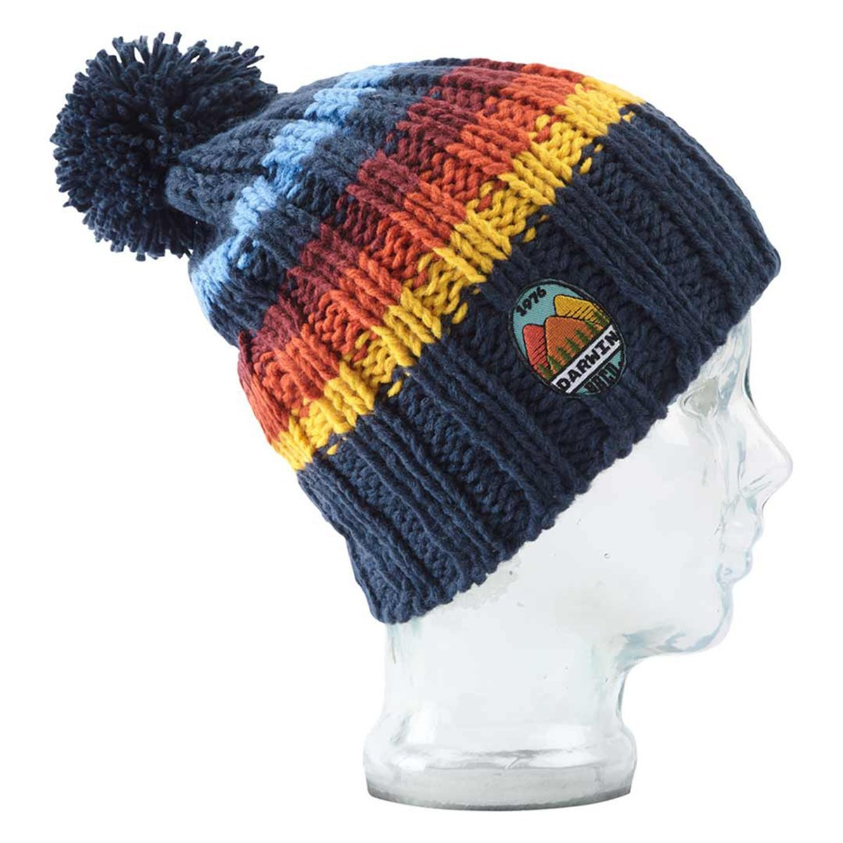 BBCo » Stripe Darwin Beanie » Chunky Knit Wool Bobble Hat - Navy