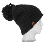 BBCo | Tomahawk Beanie | Chunky Knit Wool | Crochet Bobble Hat | Black