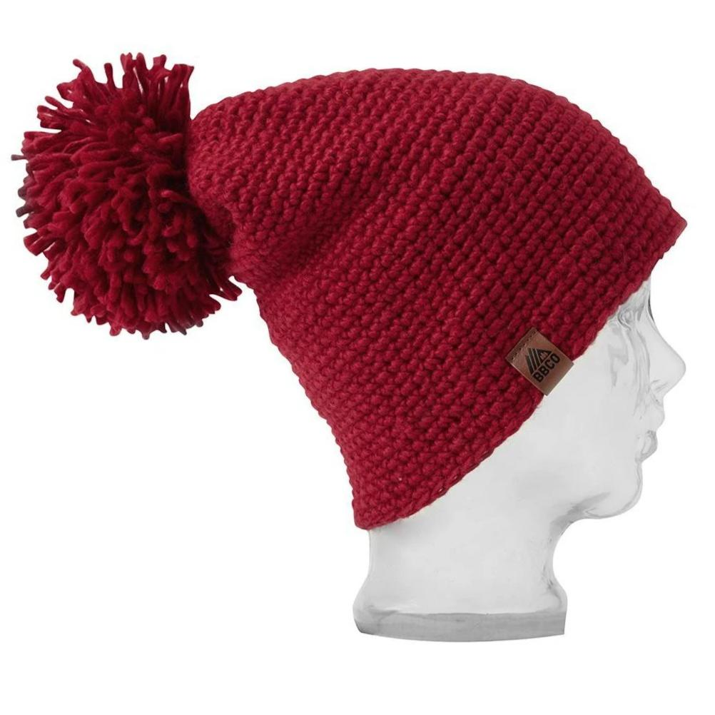BBCo | Tomahawk Beanie | Chunky Knit Wool |  Crochet Bobble Hat | Red