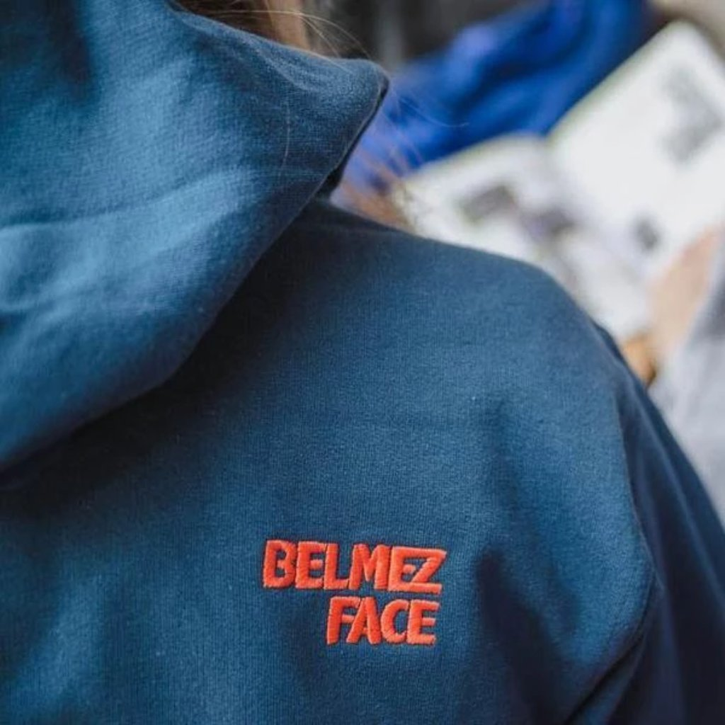 BelmezFace - Bouldering Came First - Climbing Hoodie - Petroleum, Blue, Orange - Belmez Face