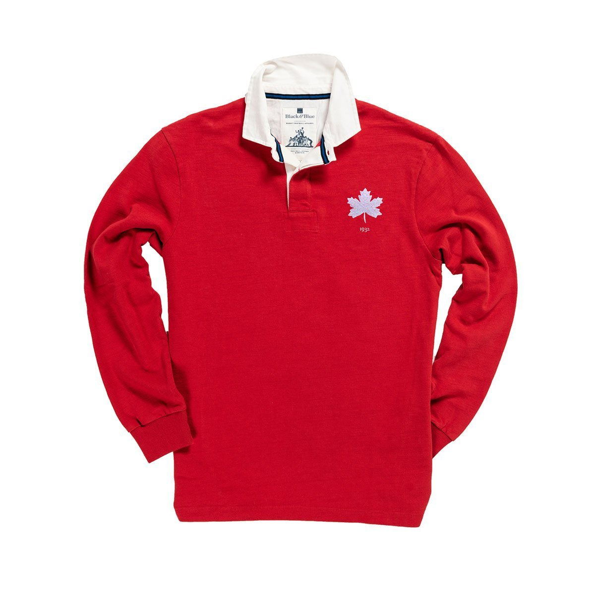 1IN/CAXS, Black & Blue 1871, Canada 1932 Rugby Shirt, Red, Vintage, Classic Rugby Shirt