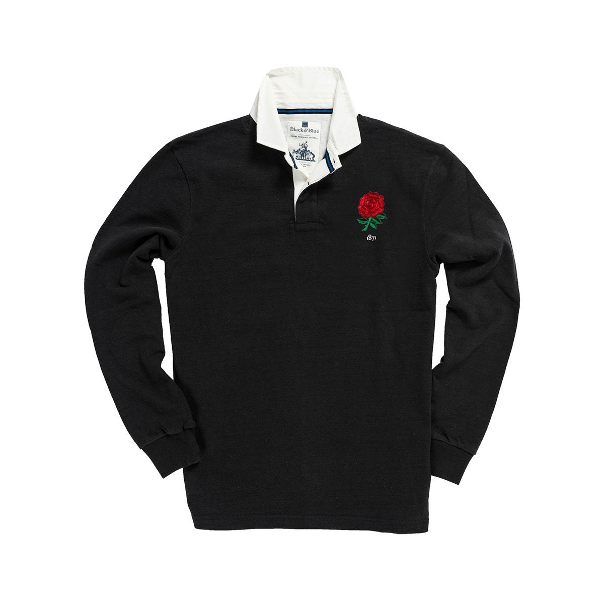 1IN/ENBXS, Black & Blue 1871, England 1871 Special Edition Rugby Shirt, Black, Vintage, Classic Rugby Shirt