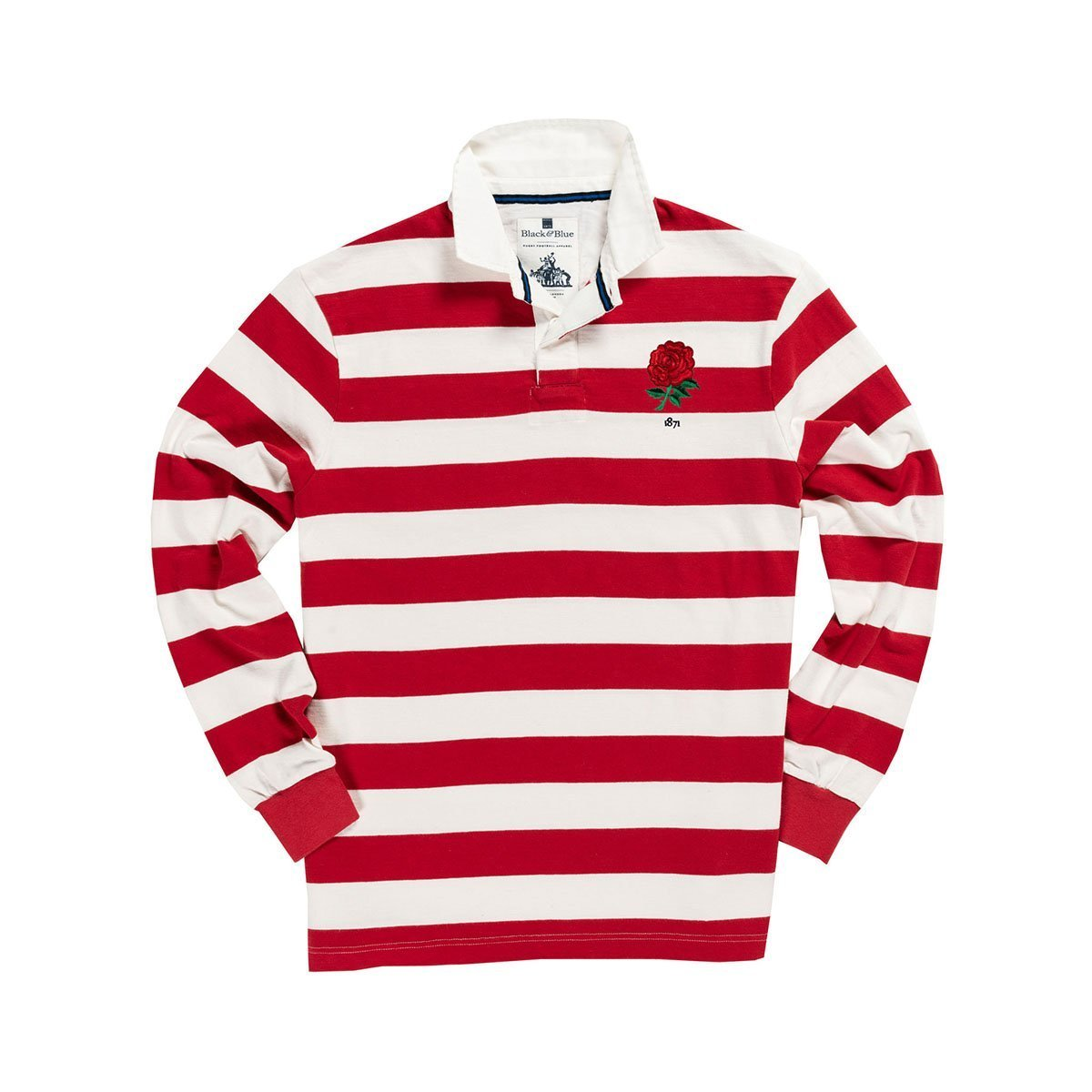 1IN/ENRWXS, Black & Blue 1871, England 1871 Special Edition Rugby Shirt, Red/White, Vintage, Classic Rugby Shirt