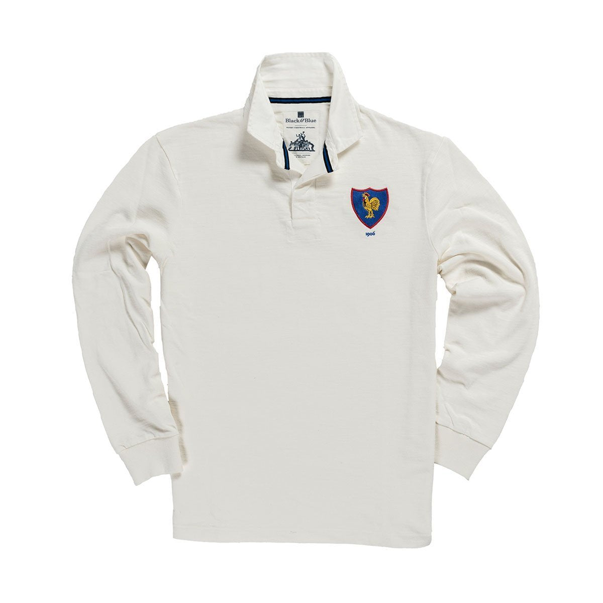 1IN/IAXS, Black & Blue 1871, Ireland 1875 Away Rugby Shirt, White, Vintage, Classic Rugby Shirt