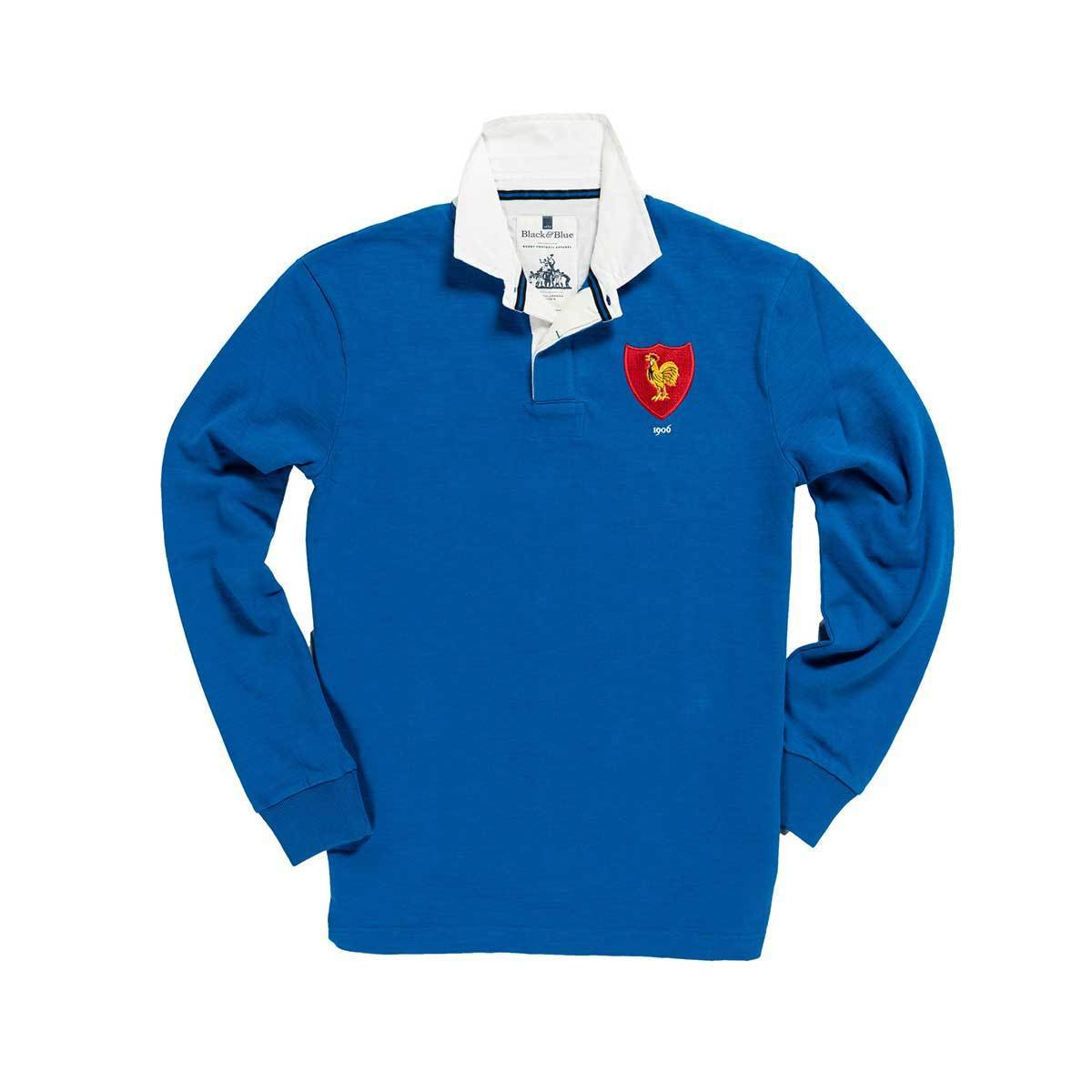 Black & Blue 1871 | France 1906 Rugby Shirt | Heavy Cotton Rugby Shirt