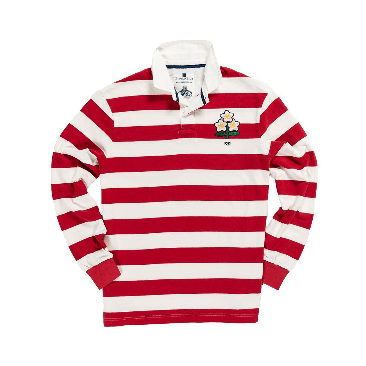 1IN/JAXS, Black & Blue 1871, Japan 1932 Rugby Shirt, Red/White, Vintage, Classic Rugby Shirt