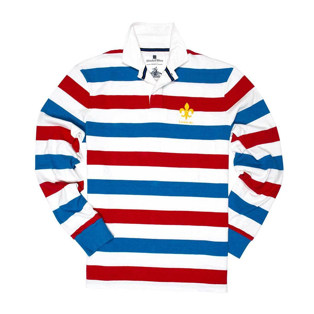 Vintage, Classic Cotton Rugby Shirt | Black & Blue 1871 | Lausanne 1871 Rugby Shirt