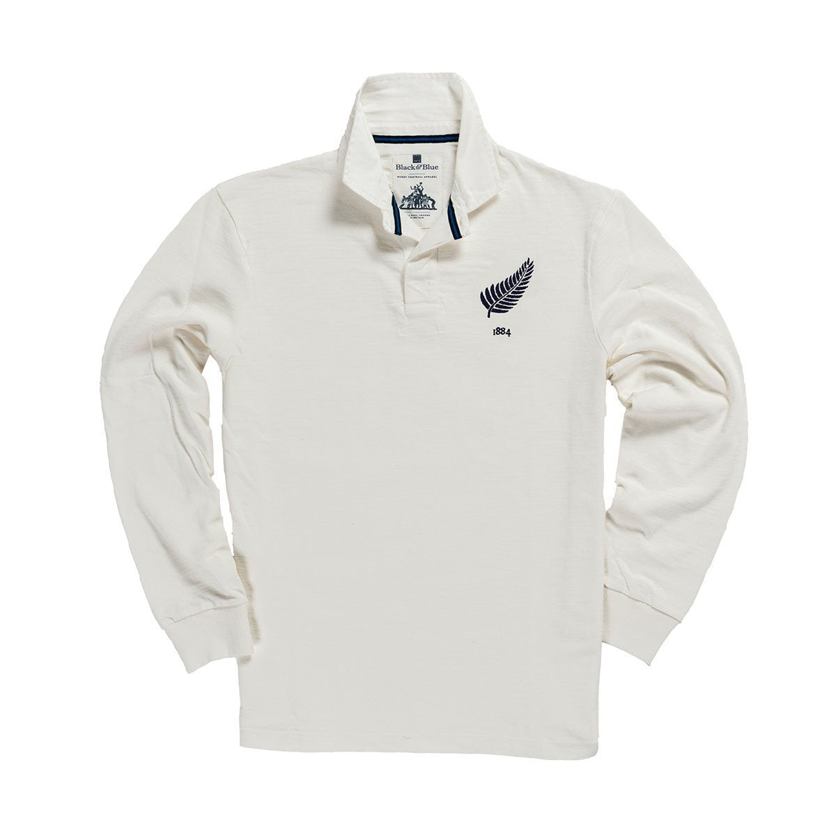 1IN/NZAXS, Black & Blue 1871, New Zealand 1884 Away Rugby Shirt, White, Vintage, Classic Rugby Shirt