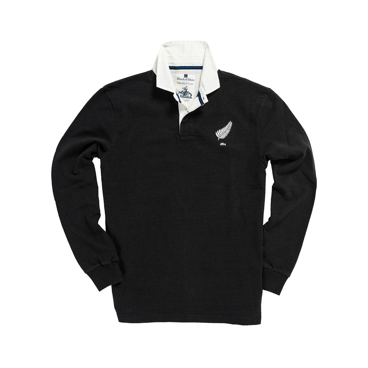 1IN/NZXS, Black & Blue 1871, New Zealand 1884 Rugby Shirt, Black, Vintage, Classic Rugby Shirt
