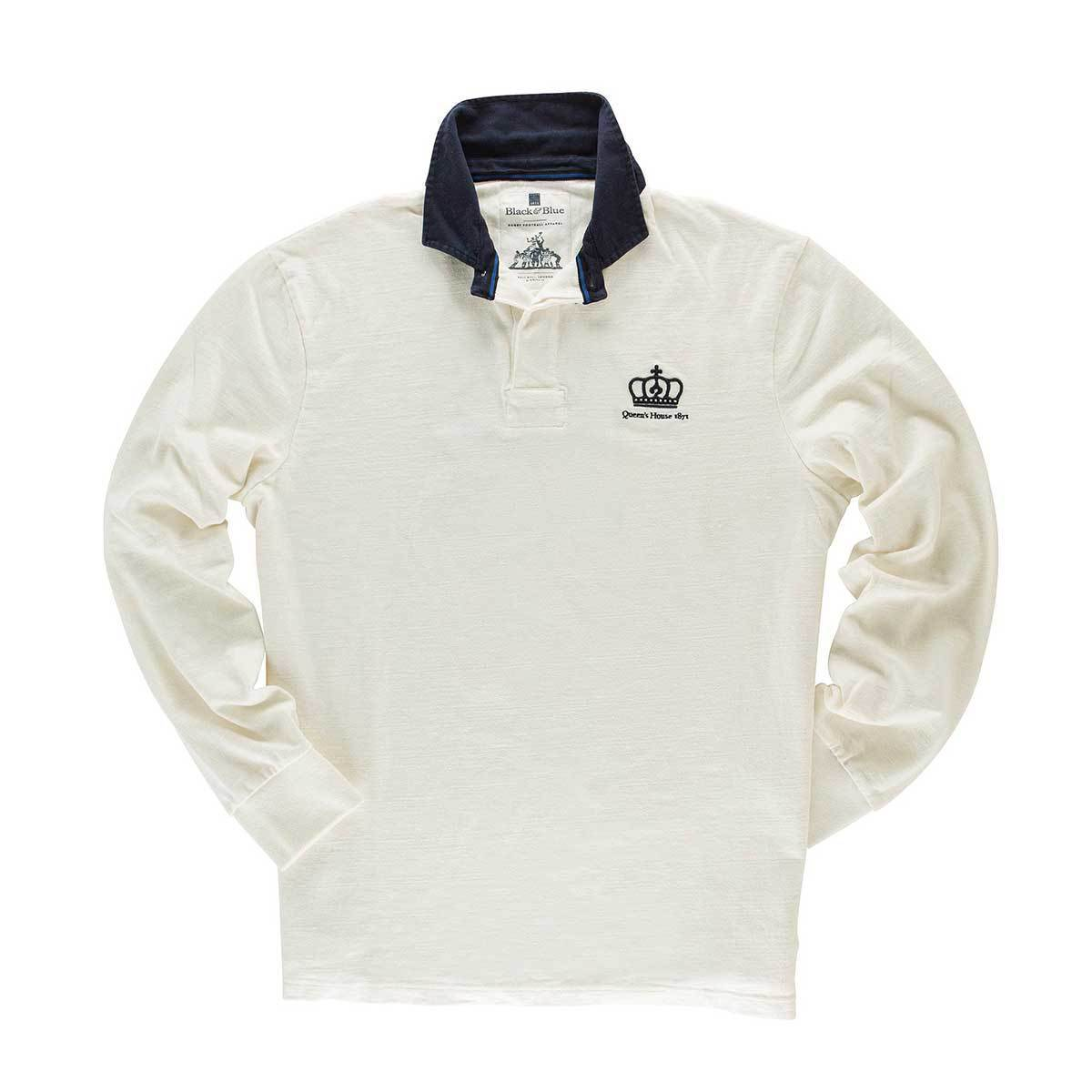 Vintage, Classic Cotton Rugby Shirt | Black & Blue 1871 | Queen's House 1871 Rugby Shirt