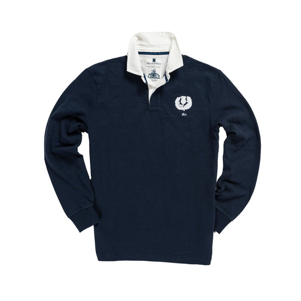 Vintage, Classic Cotton Rugby Shirt | Black & Blue 1871 | Scotland 1871 Rugby Shirt