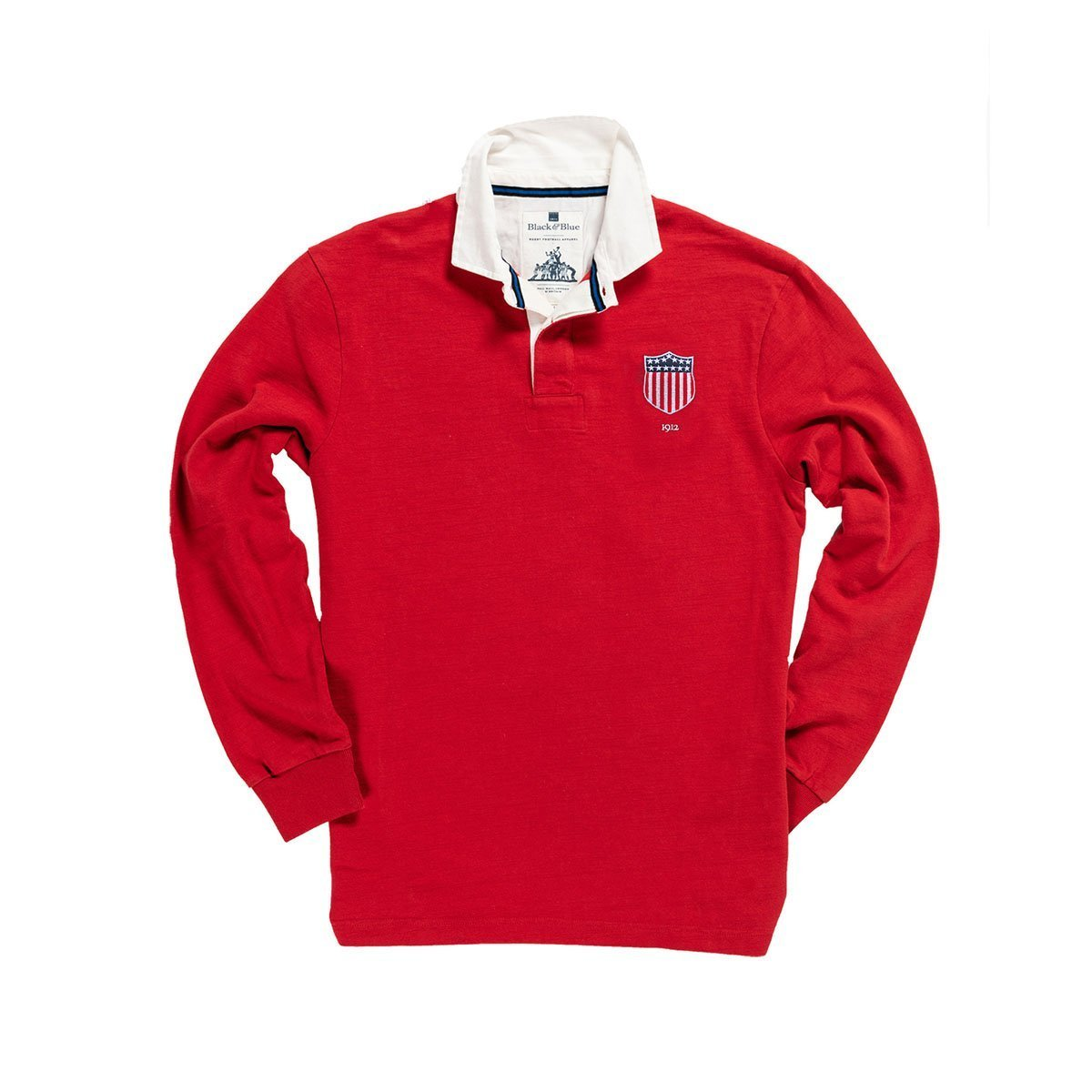 1IN/USRXS, Black & Blue 1871, USA 1912 Limited Edition Rugby Shirt, Red, Vintage, Classic Rugby Shirt