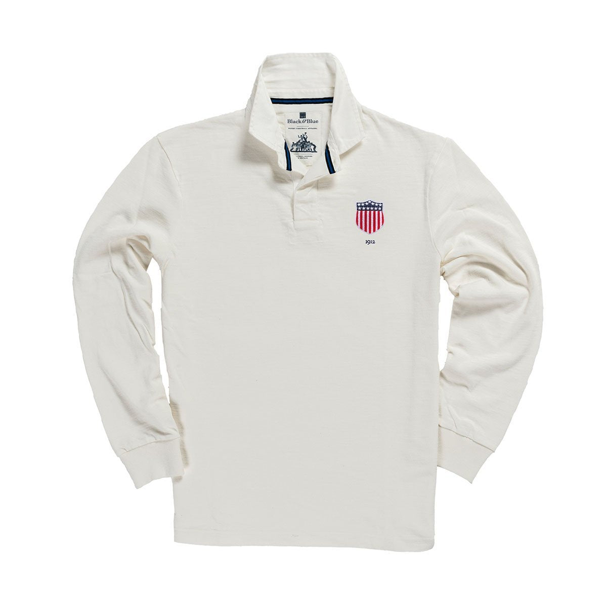 1IN/USXS, Black & Blue 1871, USA 1912 Rugby Shirt, White, Vintage, Classic Rugby Shirt