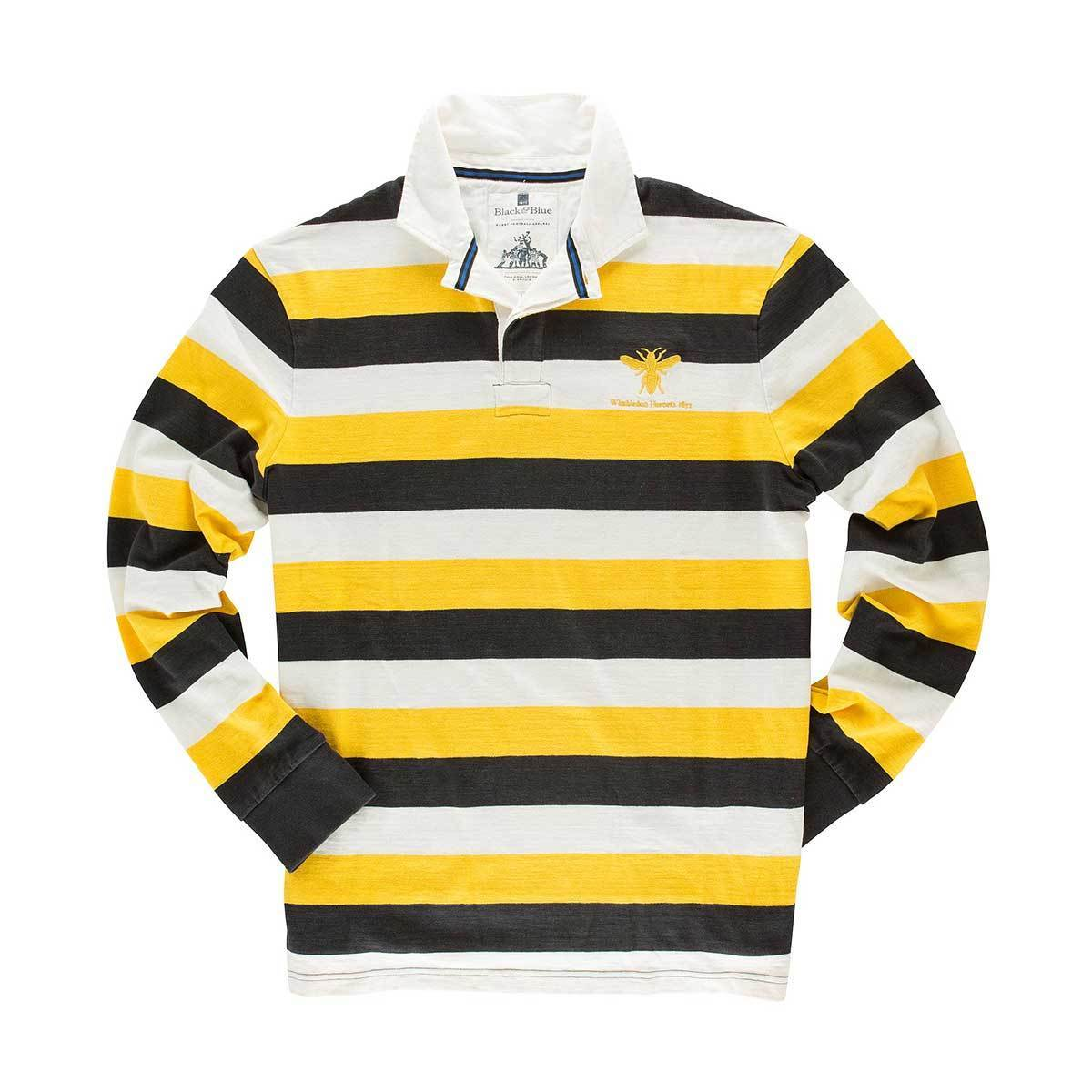Black & Blue 1871 | Wimbledon Hornets 1871 Rugby Shirt | Heavy Cotton Rugby Shirt
