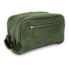 FIDIR » Mens Leather Washbag - Mens Travel Wash Bag - Green Wash Bag