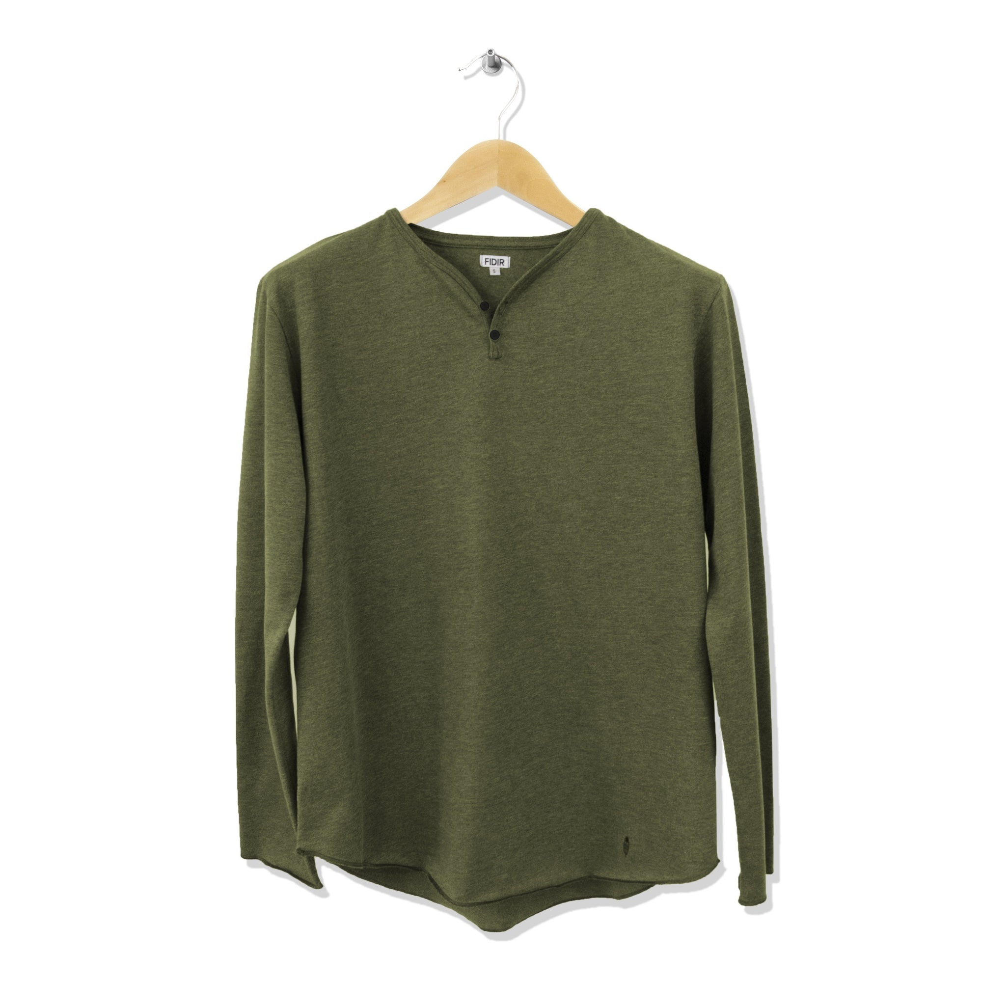 FIDIR » Long Sleeve Henley - Mens Henley Long Sleeve - Green Henley