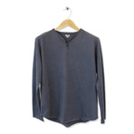 FIDIR » Long Sleeve Henley - Mens Henley Long Sleeve - Blue Henley