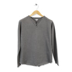 FIDIR » Long Sleeve Henley - Mens Henley Long Sleeve - Grey Henley
