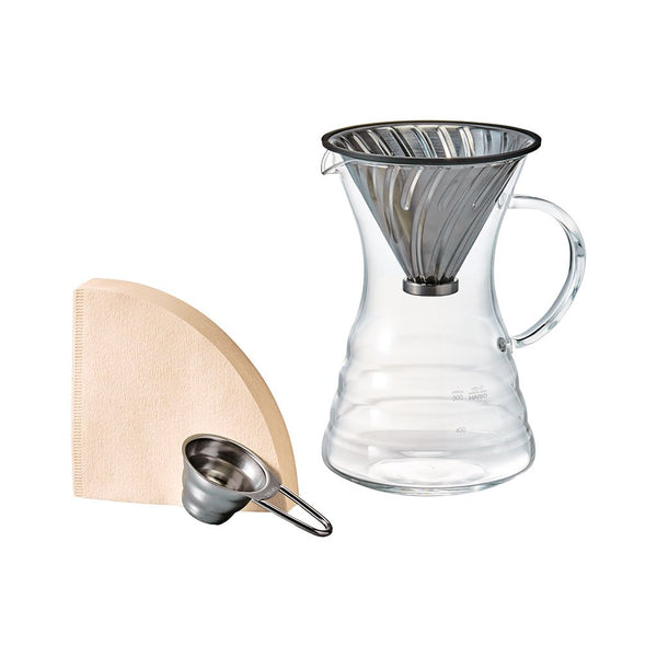 V60 Pour Over Decanter with Metal Dripper Hario VPD-02HSV Brewing Sets 700ml / Silver