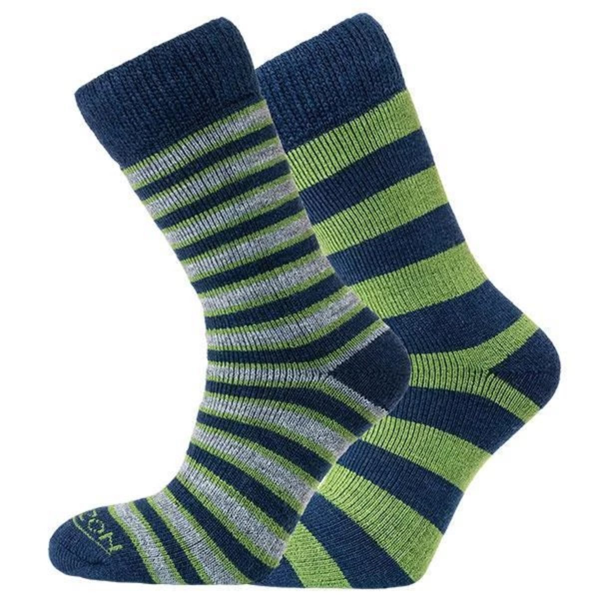 Horizon Socks » Heritage Merino Outoor Socks | Mens 2 Pack | Green/Navy