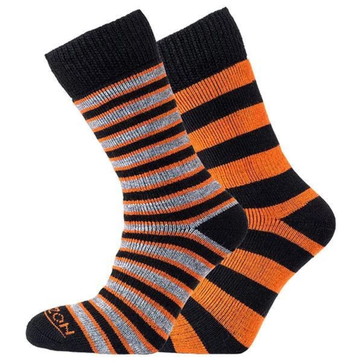 Horizon Socks » Heritage Merino Outoor Socks | Mens 2 Pack | Orange/Black