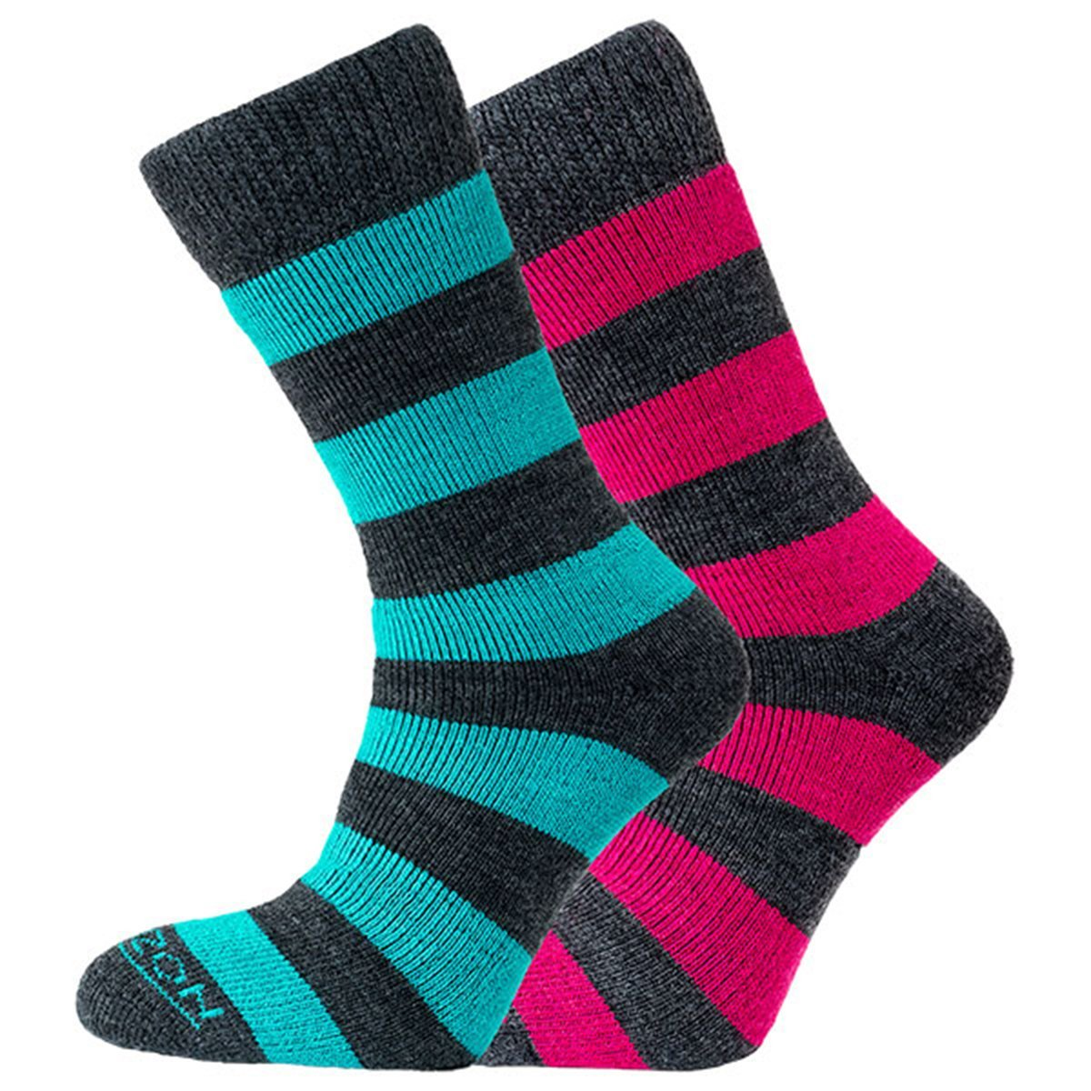 Horizon Socks » Heritage Merino Outoor Socks | Womens 2 Pack | Charcoal Teal & Cerise
