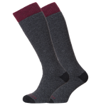 Horizon Socks » Heritage Winter Sport | Merino Wool Socks | Mens 2 Pack | Anthracite Marl/Burgundy