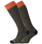 Horizon Socks » Heritage Winter Sport | Merino Wool Socks | Mens 2 Pack | Olive Marl/Orange