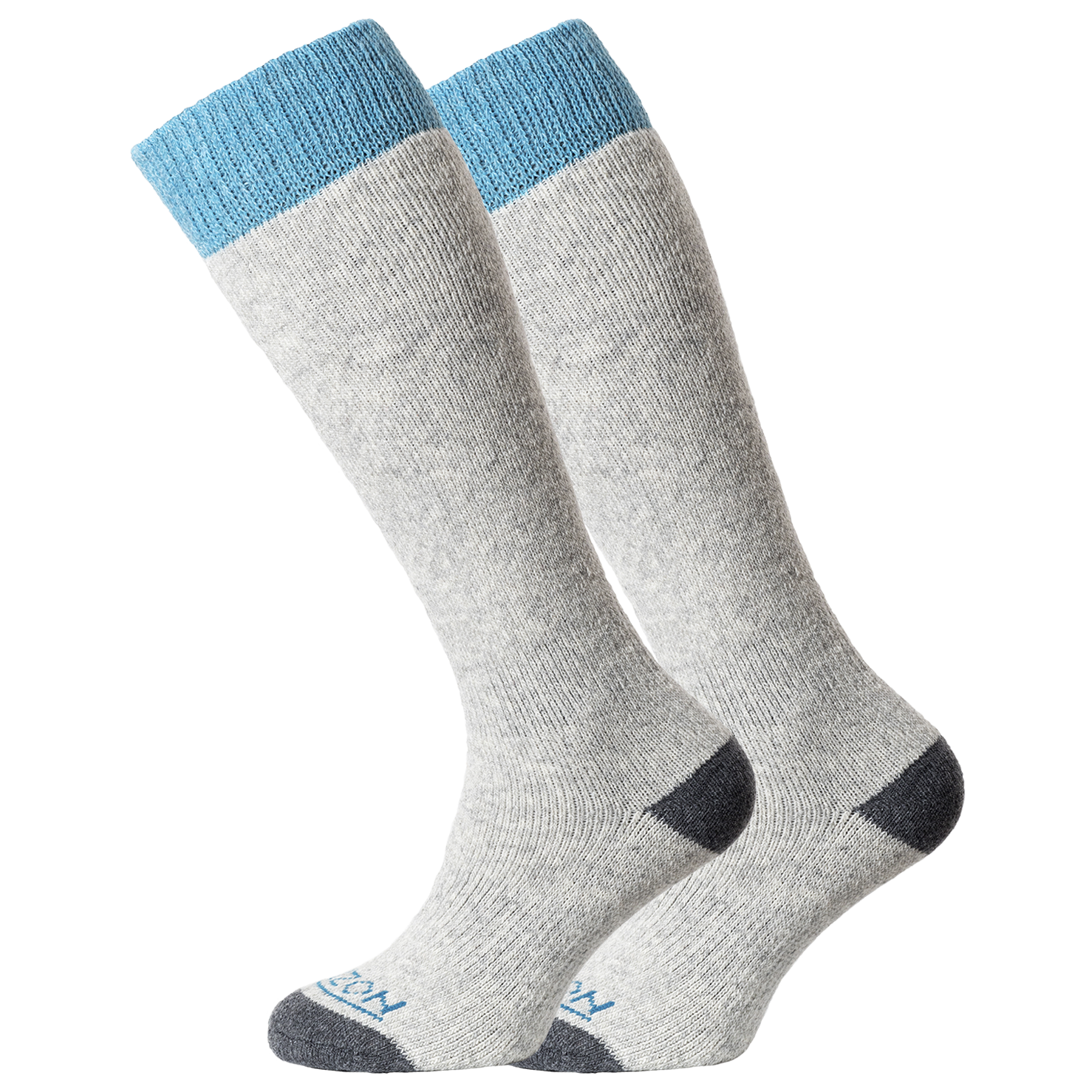 Horizon Socks » Heritage Winter Sport | Merino Wool | Womens 2 Pack | Light Grey Marl/Teal