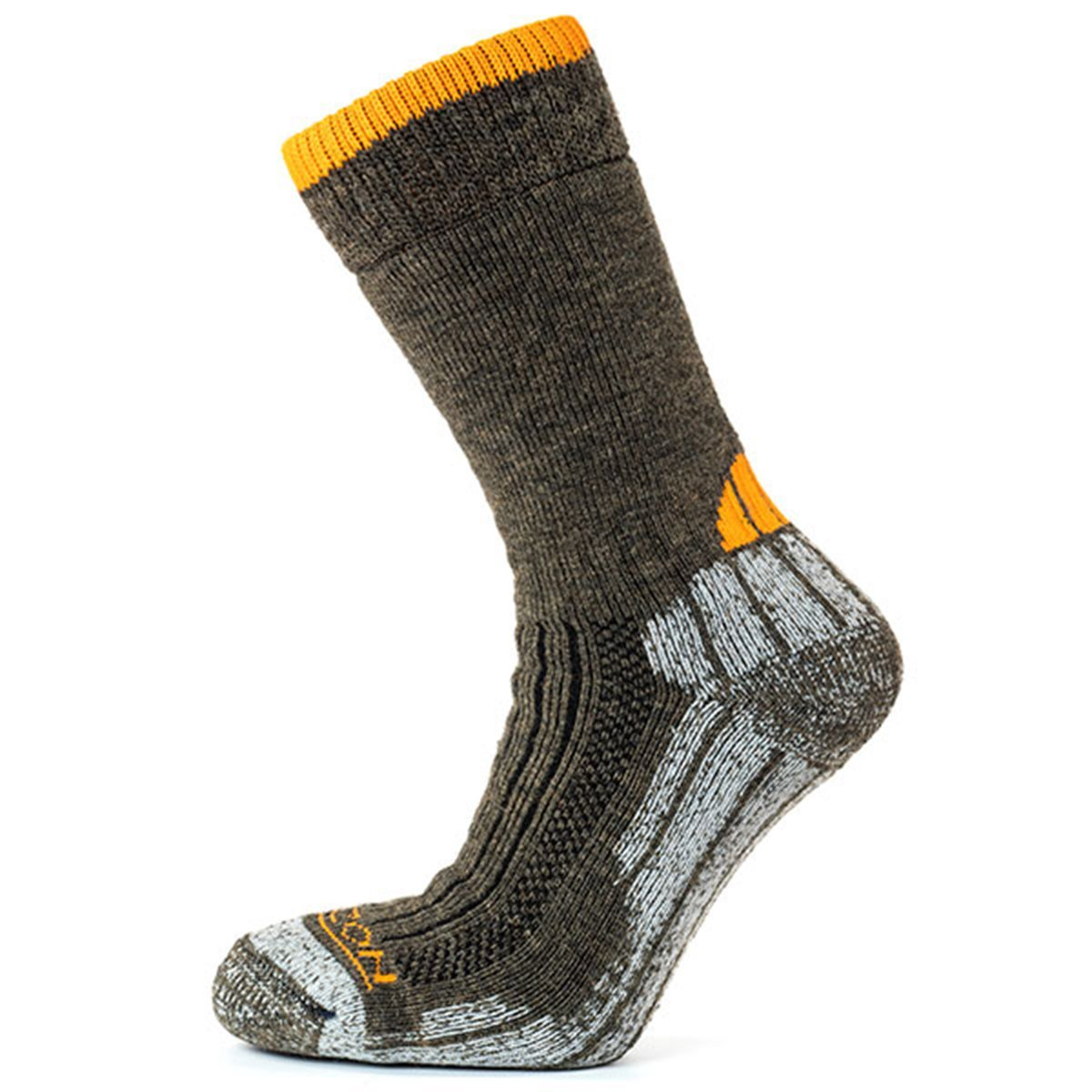 Horizon Socks » Performance Merino Trekker | Mens Merino Wool Socks - Olive Marl / Orange
