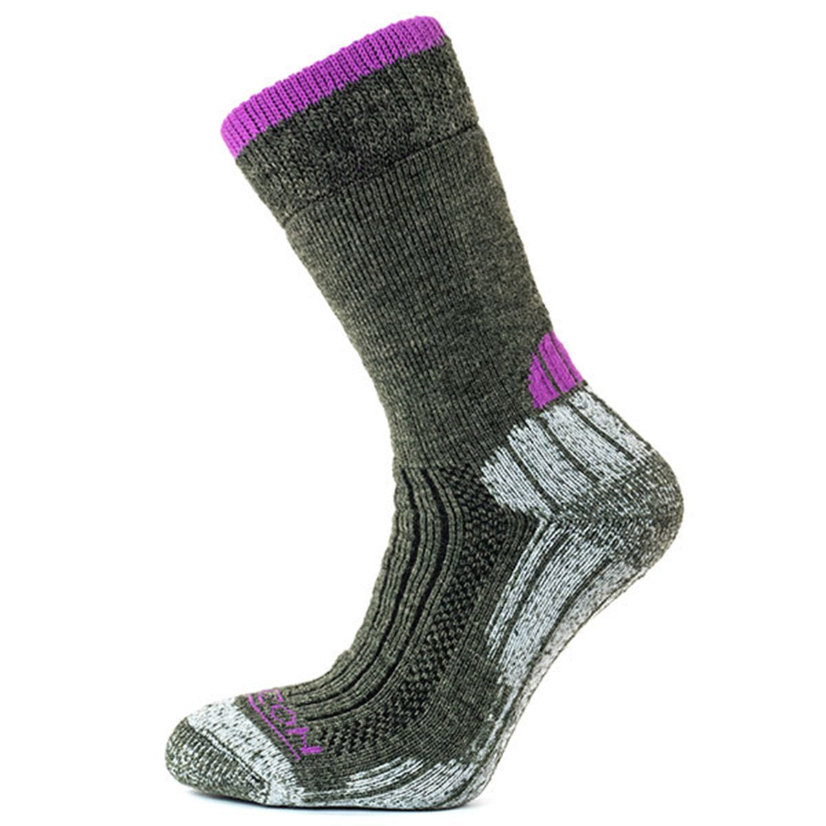 Horizon Socks » Performance Merino Trekker | Womens Merino Wool Socks - Olive/Purple