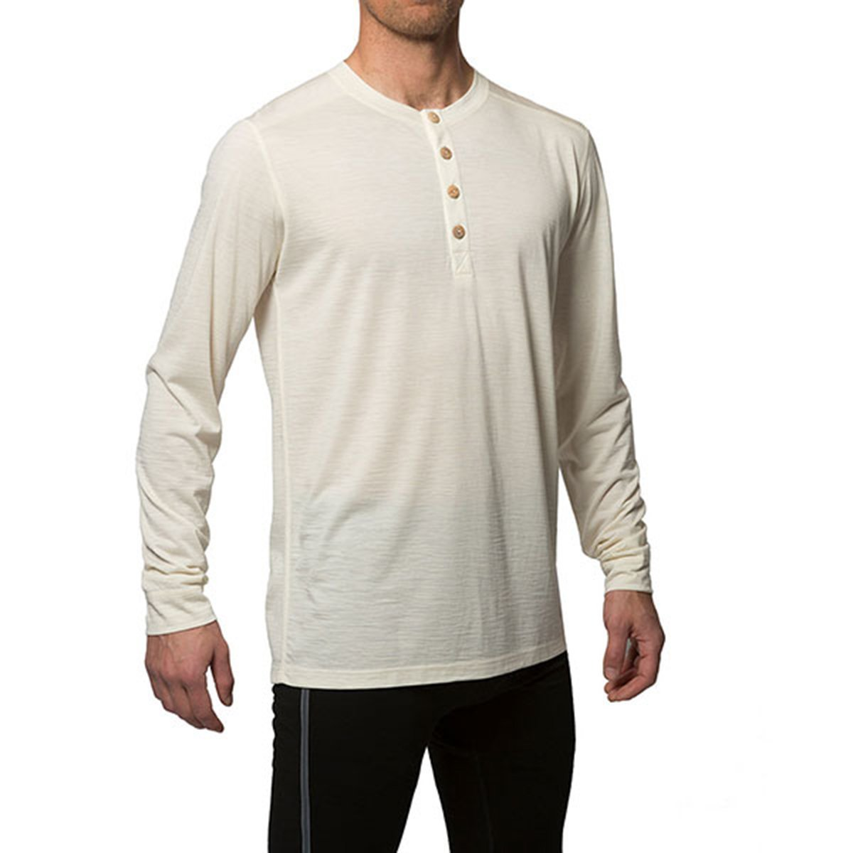 Northern Playground - Organic Wool & Silk Long Sleeve Henley - White | Men's