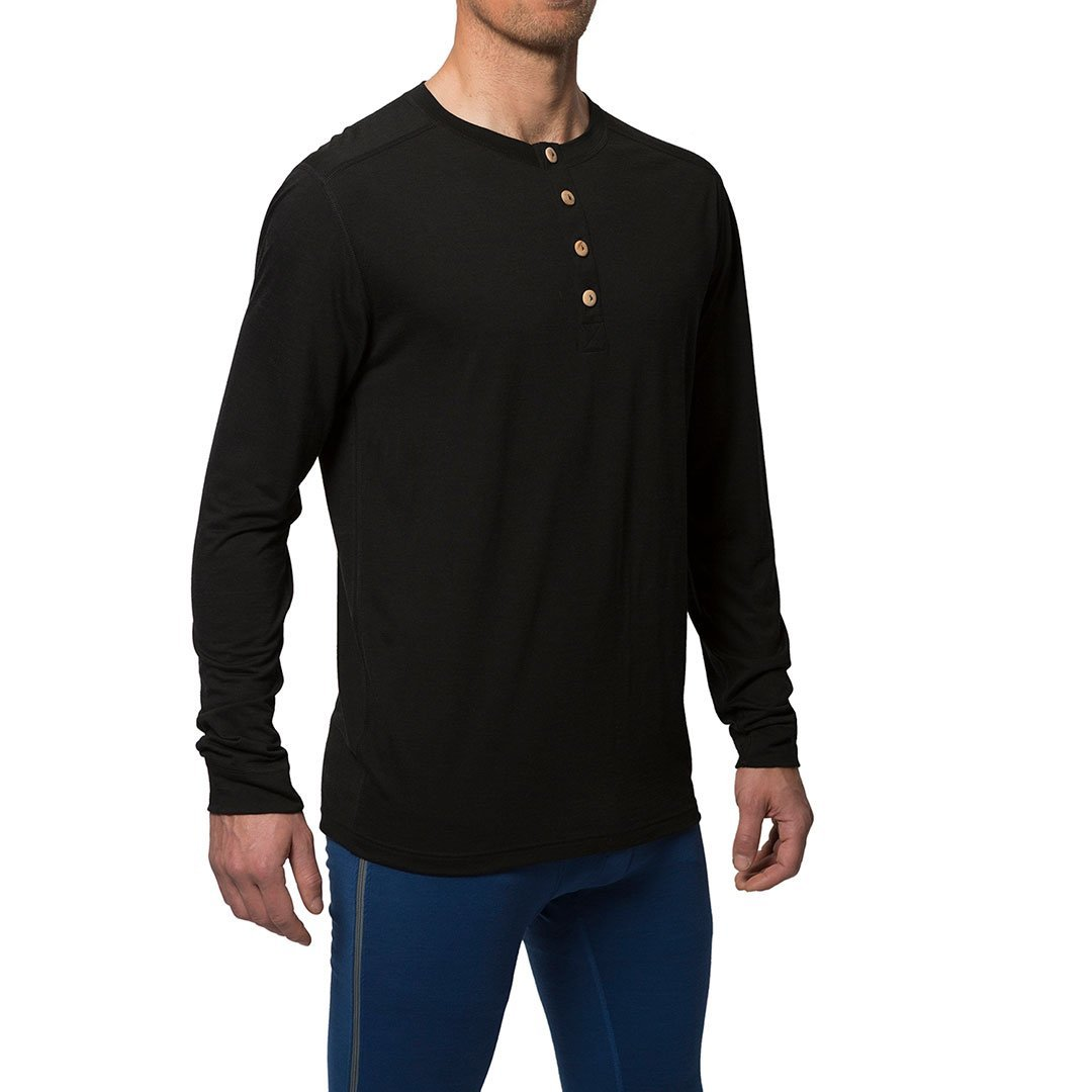 Northern Playground » Organic Wool & Silk Long Sleeve Henley | Black | Men's