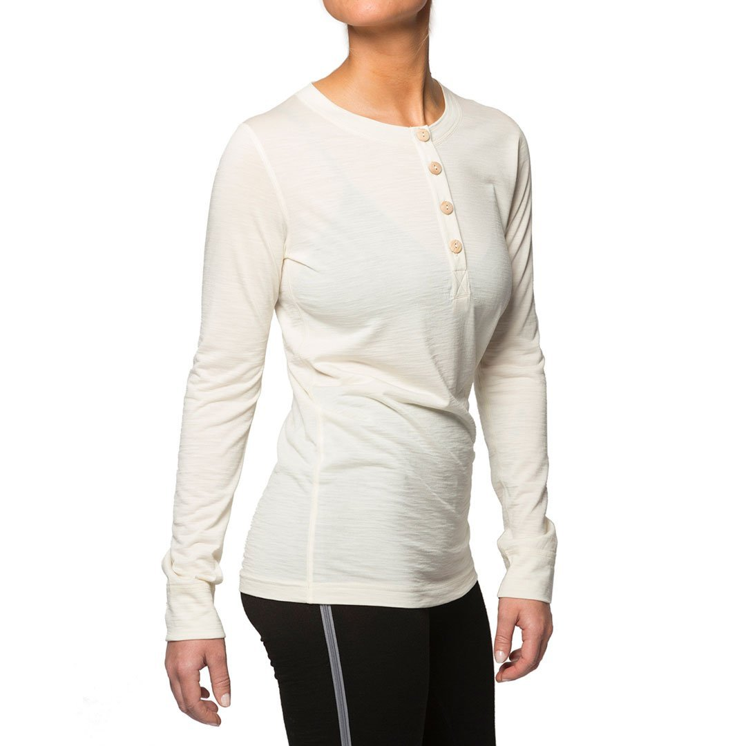Northern Playground » Organic Wool & Silk Long Sleeve Henley - White | Women's