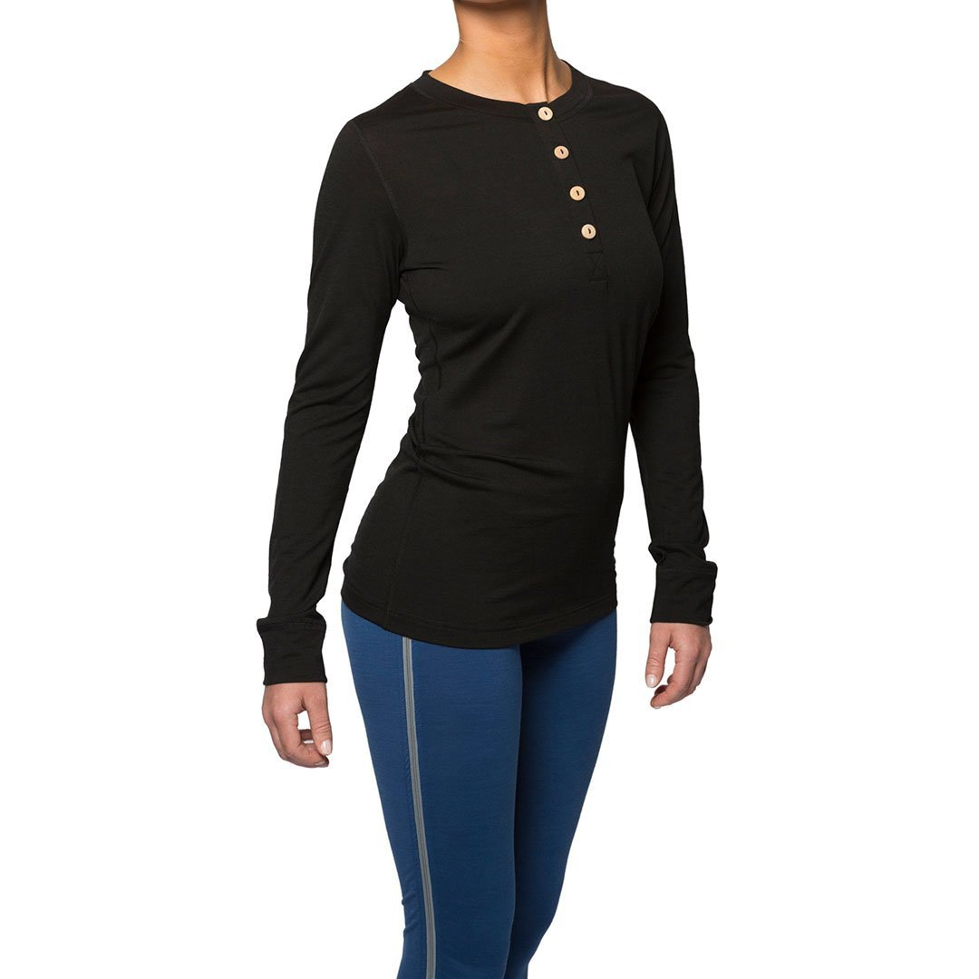 Northern Playground » Organic Wool & Silk Long Sleeve Henley - Black | Women's