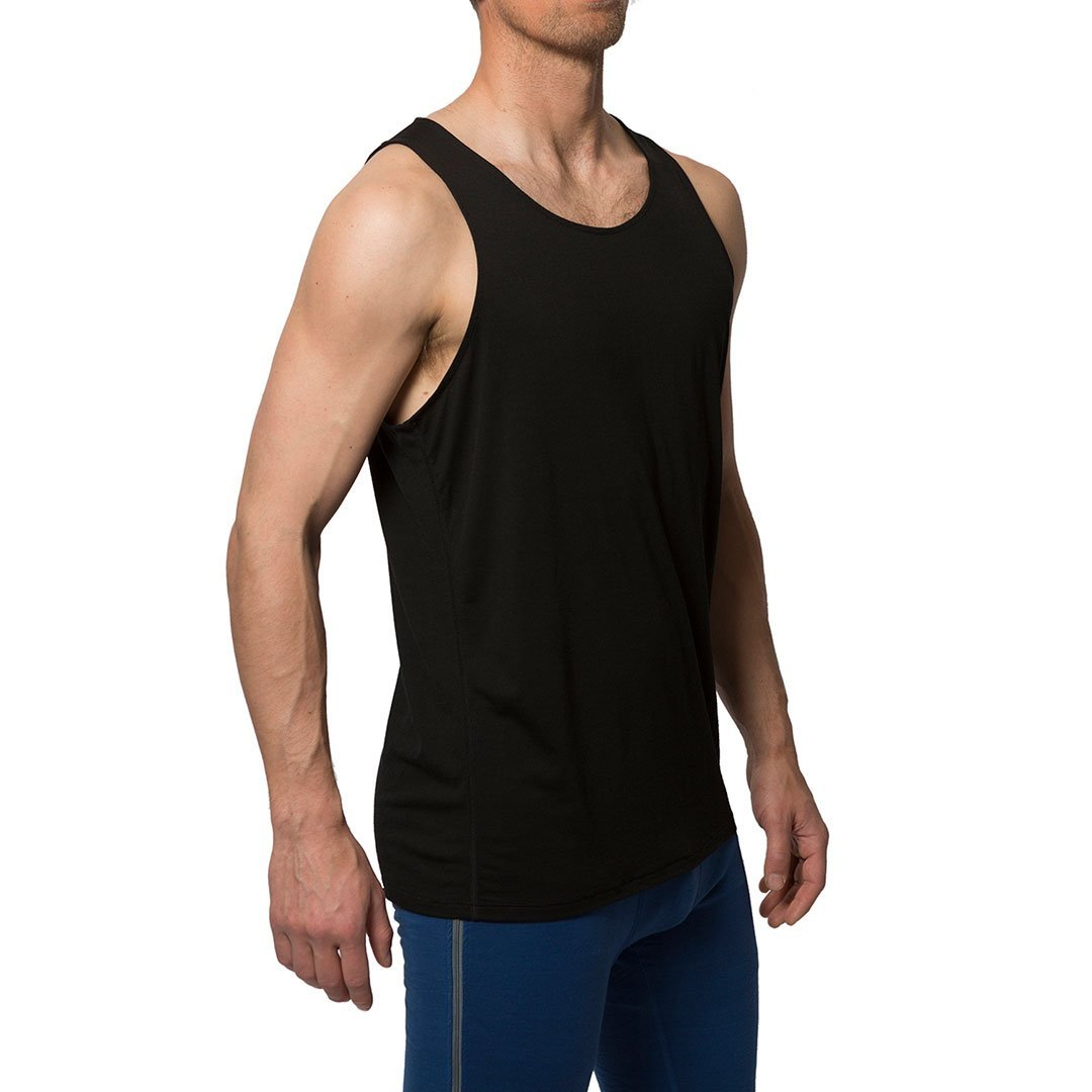 Northern Playground » Organic Wool & Silk Tank Top - Black | Men's